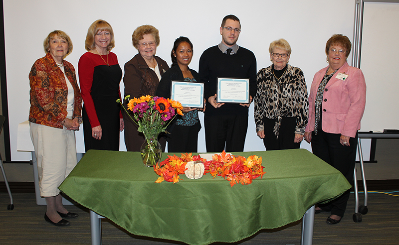 Pictured (left to right) are Committee member, Carolyn Matthews, Scholarship Chairman, Pat Richardson, Committee member, Frances Sharp, Recipients May Phipps and Evan Penn, Committee member, Betty Rice and Health Alliance President, Janet Perkins.